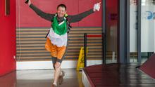 Home is the Hero- Tony Mangan returns home to Dublin after his Jog the World Odyssey. Photo: Tomas Greally