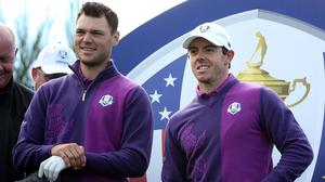 Rory McIlroy, right, was in the same group as Martin Kaymer on Wednesday