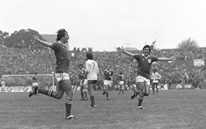 Michael Robinson celebrates scoring Ireland's third goal in a 3-2 World Cup qualifier victory over France in 1981
