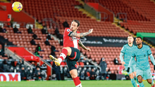 Southampton's Danny Ings hooks the ball into the Liverpool net in the second minute of last night's game. Photo: Getty Images