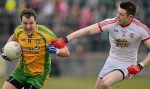 3 March 2013; Michael Murphy, Donegal, in action against Conor Clarke, Tyrone. Allianz Football League, Division 1, Tyrone v Donegal, Healy Park, Omagh, Co. Tyrone. Picture credit: Oliver McVeigh / SPORTSFILE