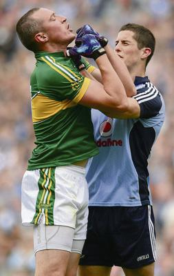 Kieran Donaghy, Kerry, and Rory O'Carroll, Dublin, involved in a tussle during the game