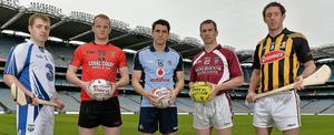 From left to right, Waterford hurler Noel Connors, Down footballer Benny Coulter, Dublin footballer Bernard Brogan, Westmeath footballer Dessie Dolan and Kilkenny hurler Michael Fennelly