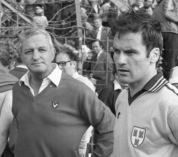 Kevin Heffernan as Dublin Manager and Tony Hanahoe during the Dublin v Kerry 1979 All- Ireland final at Croke Park.