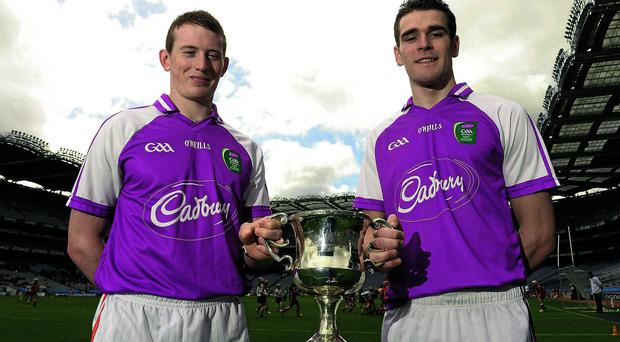 Cork captain Damien Cahalane, left, and Galway counterpart Fiontán Ó Curraoin will face off in the Cadbury All-Ireland U-21 FC