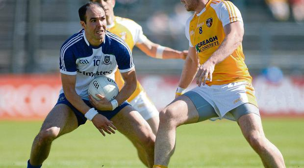 Monaghan's Paul Finlay in action against Antrim's Sean McVeigh