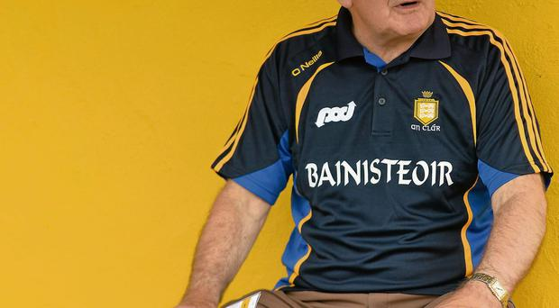 Mick O'Dwyer in the dugout at Cusack Park, Ennis, on Saturday for the last time as Clare manager