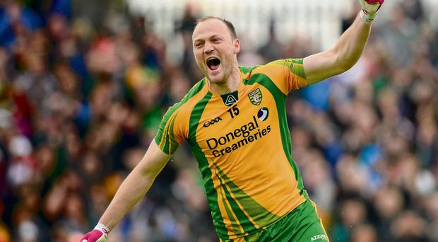 Colm McFadden celebrates scoring the first Donegal goal of the 2013 campaign against Tyrone in May.