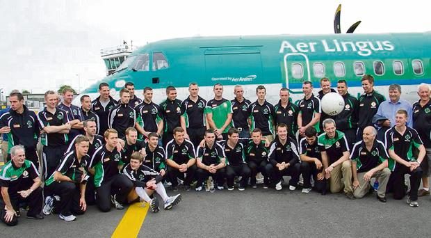 The London team before their Aer Lingus Regional flight from London Southend to Knock Airport for the historic Connacht Final