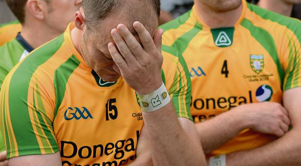 A dejected Colm McFadden at the end of the game in Clones