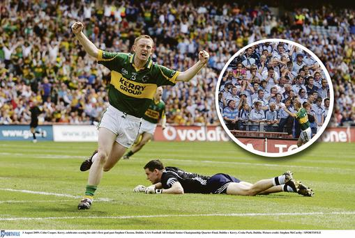 Colm Cooper celebrates his decisive early goal in the 2009 All-Ireland quarter-final the left the Hill stunned (inset)