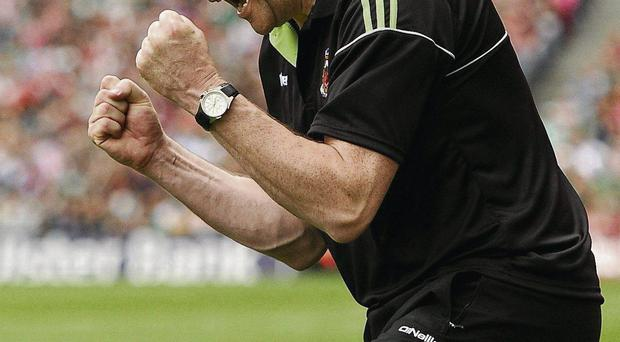 Manager James Horan celebrates Mayo's semi-final win over Tyrone