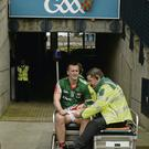 Mayo's Cillian O'Connor leaves the field with the shoulder injury that makes him a major doubt for the All-Ireland final. His absence would leave major questions marks over Mayo's scoring ability