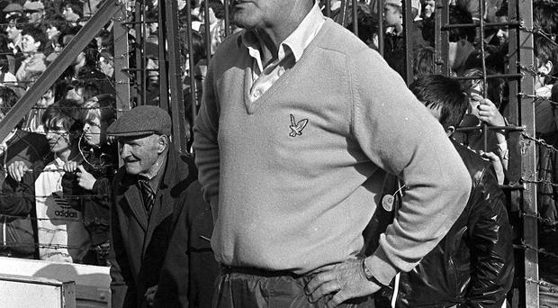 Kevin Heffernan watches the 1983 All-Ireland final against Galway from the sidelines