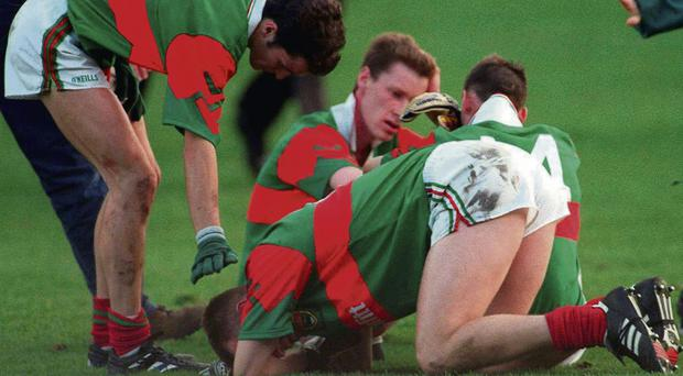 1996: Noel Connelly, 7, David Brady, front, John Casey, 14, and James Nallen after losing to Meath