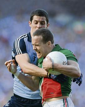 There's no way past for Andy Moran of Mayo as he is tackled by Dublin's Rory O'Carroll