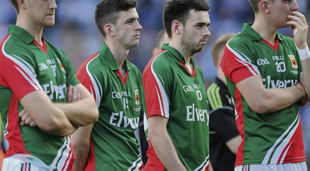 Mayo made it to their second consecutive All-Ireland football final but there was nothing but dejection at the end of the game against Dublin, from let, Shane McHale, Brendan Harrison, Kevin McLoughlin and Barry Moran