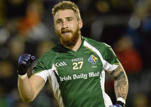 Zach Tuohy celebrates after scoring Ireland's first goal