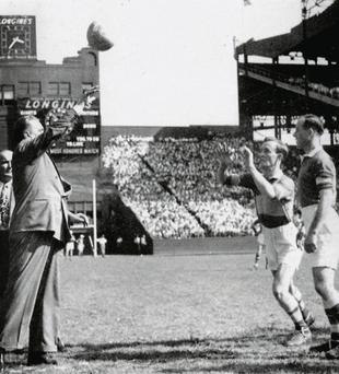 The ball is thrown in for the start of the 1947 All-Ireland SFC final in New York's Polo Grounds