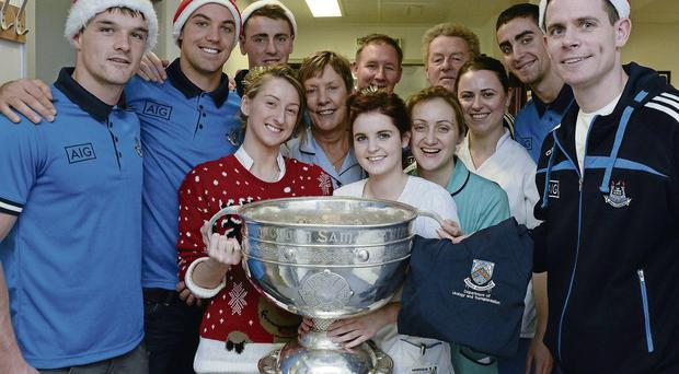 Members of the Dublin football team with Beaumont Hospital staff