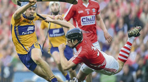 Shane O'Donnell and Shane O'Neill battle during the Clare and Cork All-Ireland SHC final which captured the public imagination PAUL MOHAN/SPORTSFILE