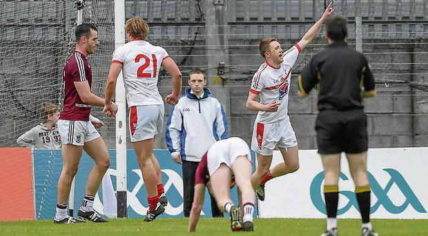 Louth's Ryan Burns celebrates after scoring his team's goal against Westmeath