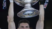 Dublin's two-goal hero Bernard Brogan raises the Sam Maguire on the steps of the Hogan Stand