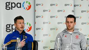 GPA national executive committee member and Longford footballer Mickey Quinn, left, with fellow committee member and Tyrone footballer Niall Morgan, speaking at a GPA Media Conference to address the upcoming GAA inter-county football championship structure proposals. Photo: Brendan Moran/Sportsfile