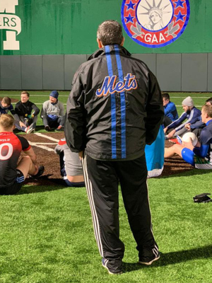 New York manager Gerry Fox oversees team training in Gaelic Park last week