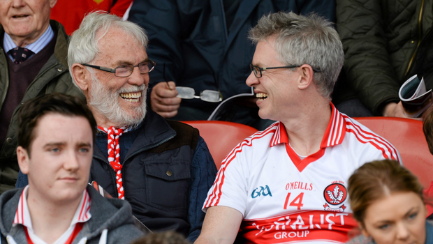 Joe Brolly, right, and his father Francie enjoying a Derry game. Photo: Oliver McVeigh / SPORTSFILE