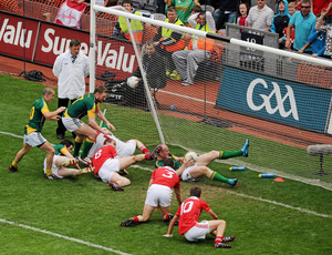 Meath's Joe Sheridan scrambles the ball over the line to give the Royal County victory, a score that had repercussions that still reverberate in both counties until this day. Photo: Sportsfile