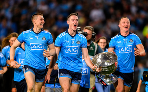 Dublin players from left, John Small, Brian Fenton and Ciarán Kilkenny celebrate their All-Ireland SFC final replay win over Kerry last September. Photo: Sportsfile