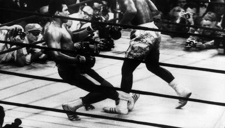 Muhammad Ali goes down in the 15th round to a left hook from world heavyweight champion Joe Frazier in Madison Square Garden in March 1971. Photo: Keystone/Getty