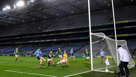 Dean Rock scores his side's first goal during their Leinster SFC final rout of Meath at Croke Park last November. Photo: Ramsey Cardy/Sportsfile
