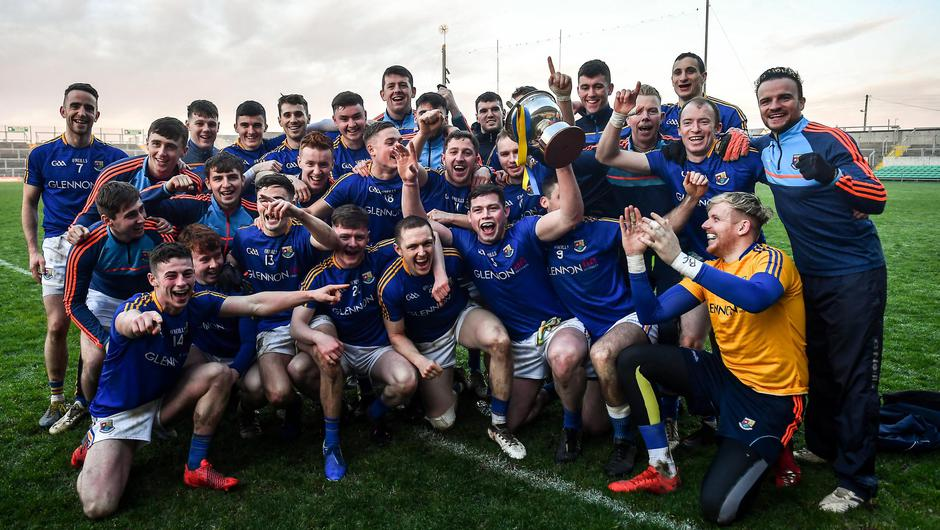 Longford celebrate their O'Byrne Cup success last year. Photo: Sportsfile