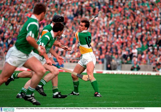 Johnny Dooley takes a free which resulted in a crucial goal in the 1994 All-Ireland final. Picture credit; Ray McManus / SPORTSFILE