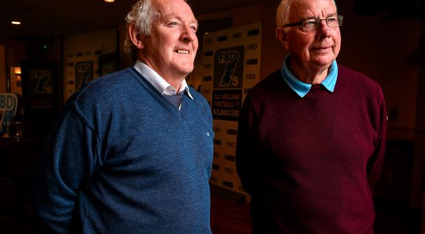 Former Kerry and Dublin stars Charlie Nelligan, left, and Robbie Kelleher at the launch of the FBD7s Senior All Ireland Football 7s at Kilmacud Crokes