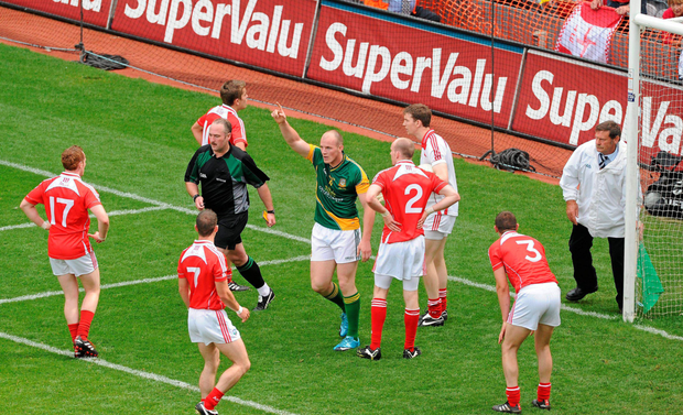Joe Sheridan celebrates after referee Martin Sludden awarded his controversial goal against Lough