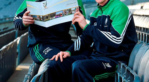 Wexford hurler Eanna Martin and Kildare footballer Paul Cribbin at the Launch of the Leinster GAA Strategic Vision and Action Plan