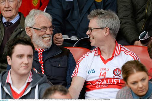 Joe Brolly, right, and his father Francie enjoying the game. Ulster GAA Football Senior Championship Quarter-Final, Derry v Down. Celtic Park, Derry. Picture credit: Oliver McVeigh / SPORTSFILE