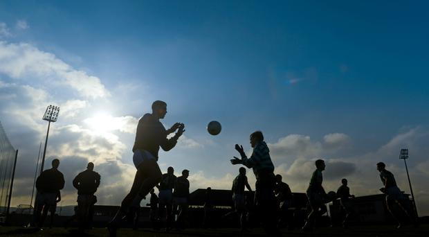 16 November 2014; Ballincollig players warm up before the game. AIB Munster GAA Football Senior Club Championship Semi-Final, Austin Stacks v Ballincollig, Austin Stack Park, Tralee, Co. Kerry. Picture credit: Diarmuid Greene / SPORTSFILE