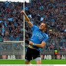 Pitch perfect: Alan Brogan celebrates in front of Hill 16 after the Dubs beat Kerry to win their 25th football All-Ireland Senior Championship at Croke Park last September. Photo: Brendan Moran