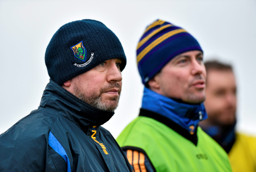 Wicklow manager Johnny Magee with selector Ray Cosgrove (SPORTSFILE)