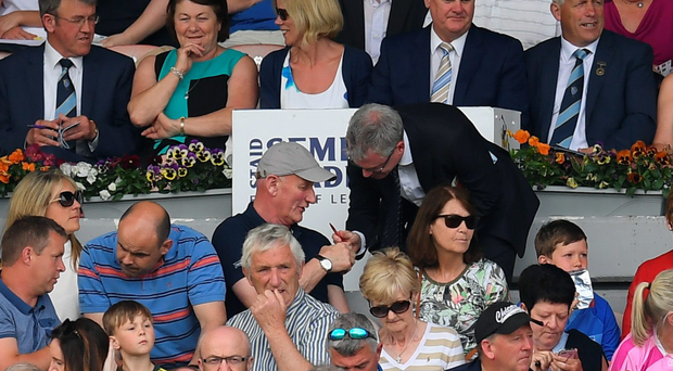 Joe Brolly and Brian Cody converse in Thurles last Sunday. Photo: Stephen McCarthy/Sportsfile
