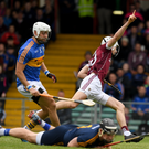 Galway's Jason Flynn scoring a goal in the Allianz Hurling League final. Today Tipperary set out in defence of a title last defended successfully by their county 52 years ago. Photo: Ray McManus/Sportsfile