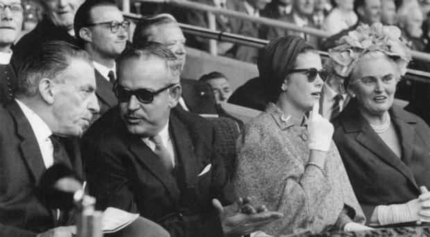 Princess Grace and Prince Rainier of Monaco at Croke Park from the 1963 All-Ireland hurling final between Kilkenny and Waterford, in the company of Taoiseach Sean Lemass and his wife Kathleen;