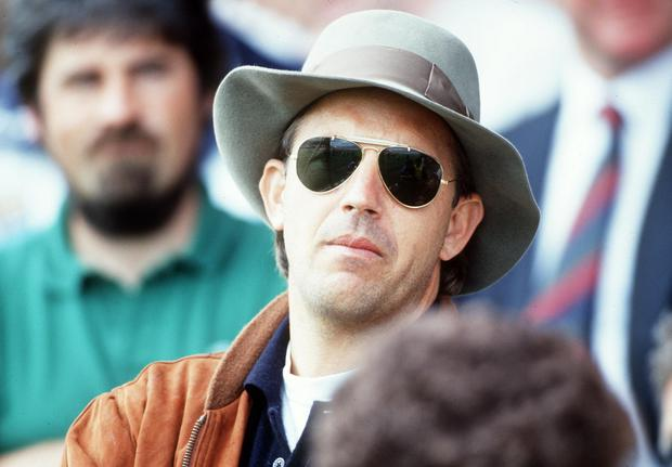 Kevin Costner at the 1992 football semi-final between Dublin and Clare