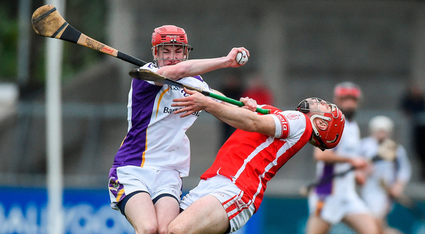 Jim Gibbons (left) of Kilmacud Crokes clashes with Cuala's David Treacy at Parnell Park. Photo: Sportsfile