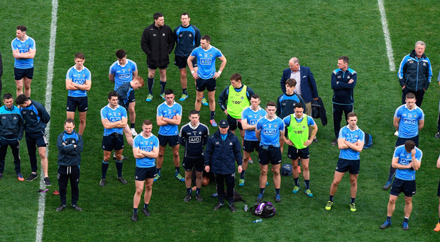 A clash with Jim Gavin's Dublin, pictured after last year's NFL Division 1 final loss, should be embraced and not feared. Photo: Sportsfile