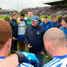 Monaghan manager Malachy O'Rourke, addressing players during last year's Championship, has enjoyed remarkable success with a county of just 61,000 Photo: Sportsfile